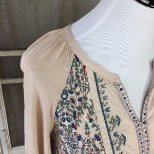 Vintage America Tops - Vintage America Boho Embroidered Raglan Blouse L